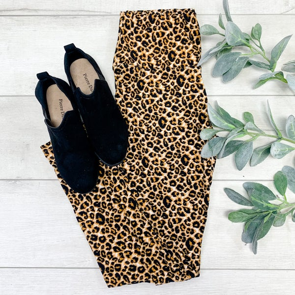Printed Leggings, Brown Leopard
