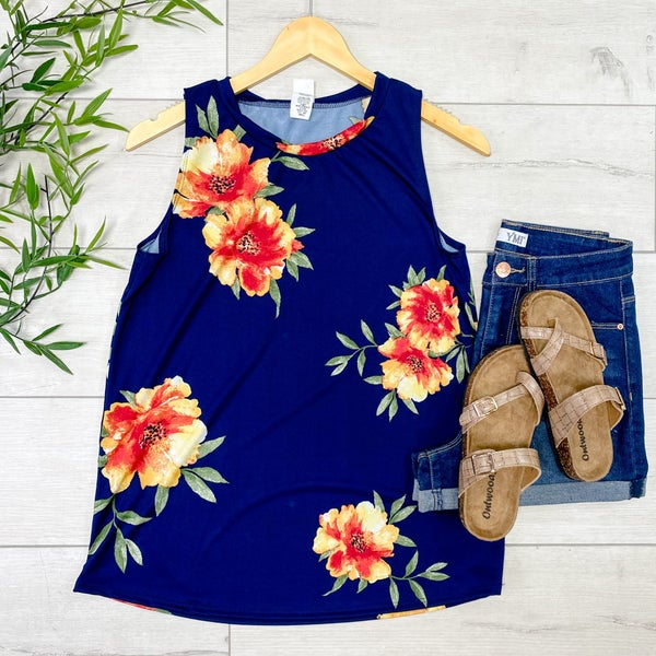 Large Floral Print Tank, Navy