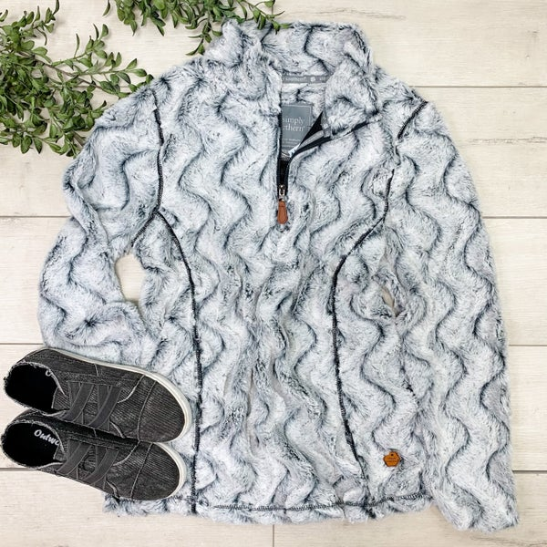 *Simply Southern* Textured Ripple Pullover, Stone