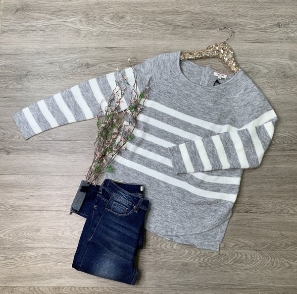 *Kendra's Collection* Striped Sweater, Heather Grey