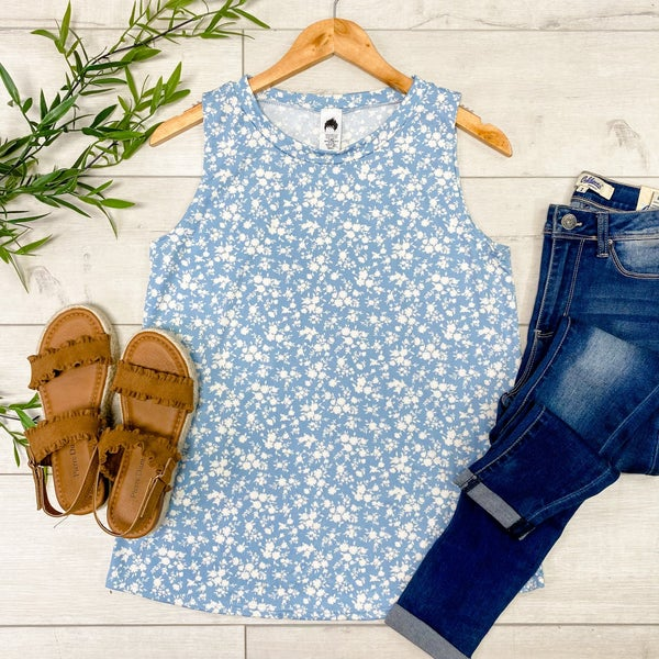 Small Floral Print Tank, Blue