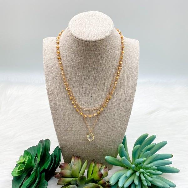 Three Layer Short Necklace w/ Stone Pendant, Mustard