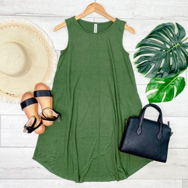 Solid Sleeveless Round Hem Dress, Army Green [[LIVE]]