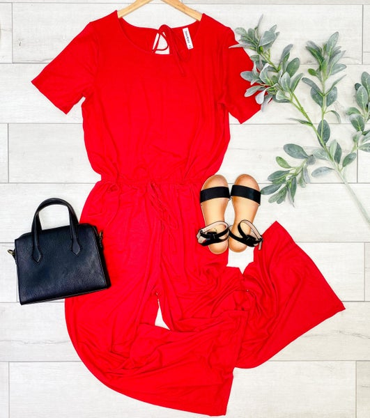 *PLUS* Solid Short Sleeve Jumpsuit w/Pockets, Ruby