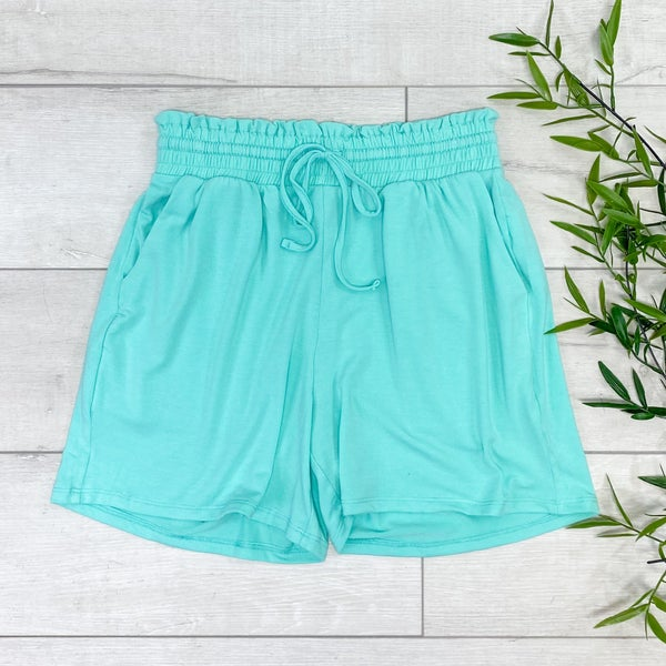 Drawstring Waist Paperbag Shorts, Mint