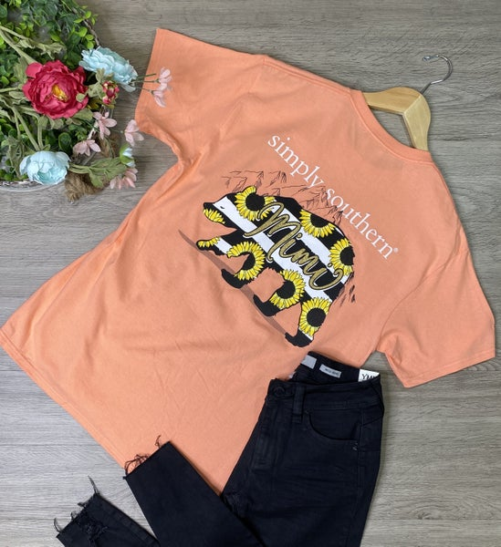 *Simply Southern* Mimi Bear T-Shirt, Peachy *Final Sale*