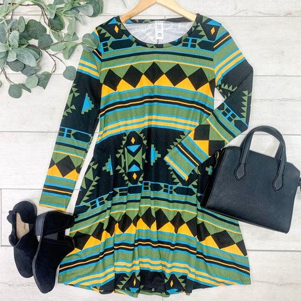 Aztec Patterned Swing Dress, Black *Final Sale*