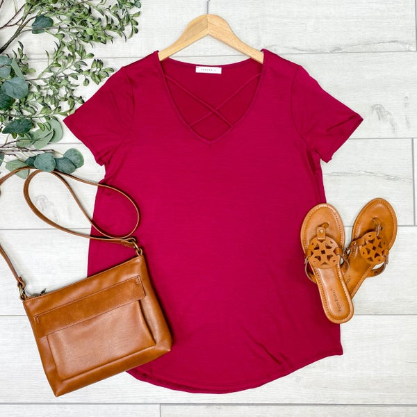 Criss Cross Neck Top, Wine