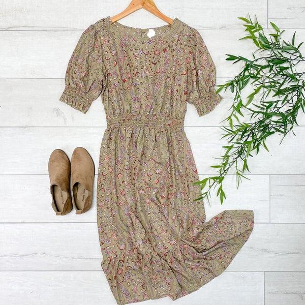 Patterned Ruffle Trim Dress, Olive