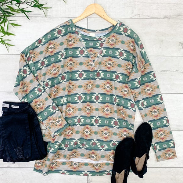 Aztec Patterned Pullover Top, Green