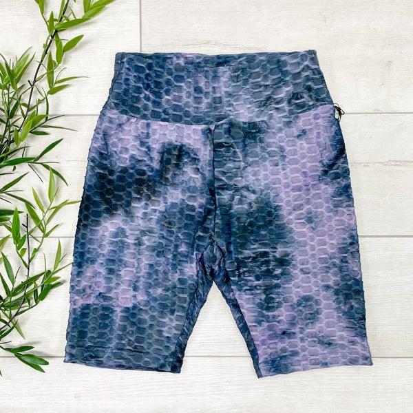 Tie Dye Honeycomb Biker Shorts, Purple