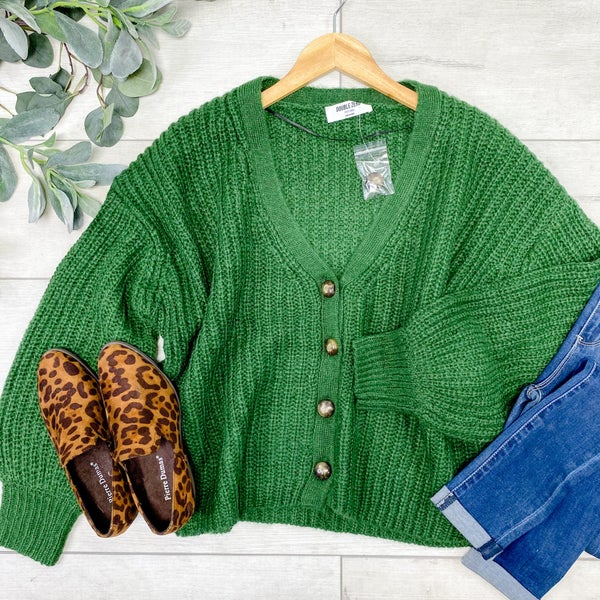 Cable Knit Cardigan, Green