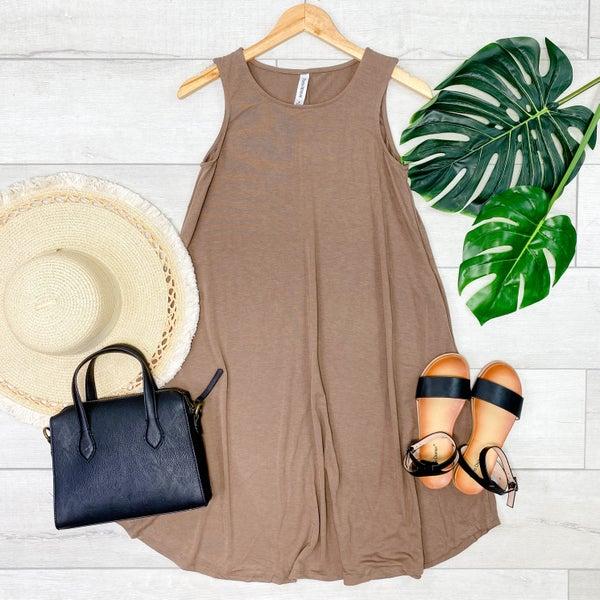 Solid Sleeveless Round Hem Dress, Mocha [[LIVE]]