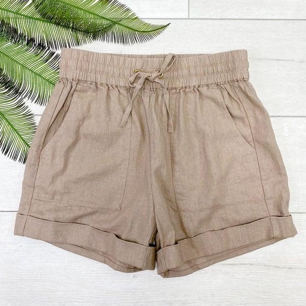 Drawstring Cuffed Linen Shorts w/Pockets, Ash Mocha
