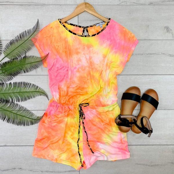 Tie Dye Romper, Neon Pink