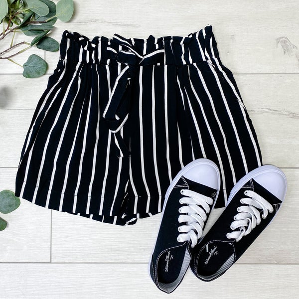 Striped Paper Bag Shorts, Black