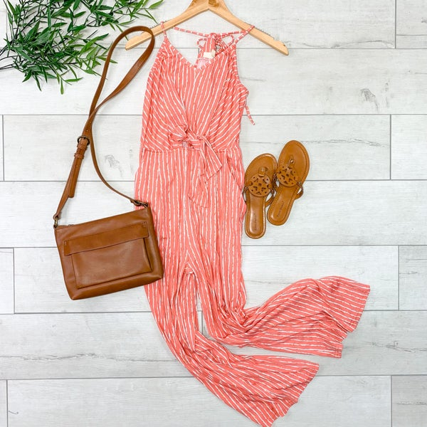 Strappy Striped Jumpsuit, Coral