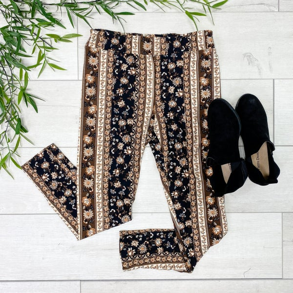 High Waisted Floral Print Leggings, Brown