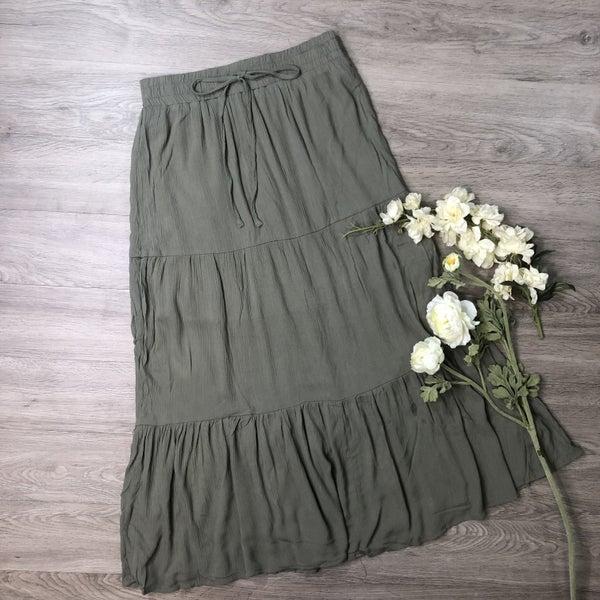 Tiered Midi Skirt- Olive
