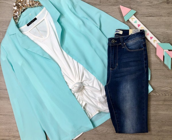 Open Front Jacket w/Rolled Sleeves, Mint