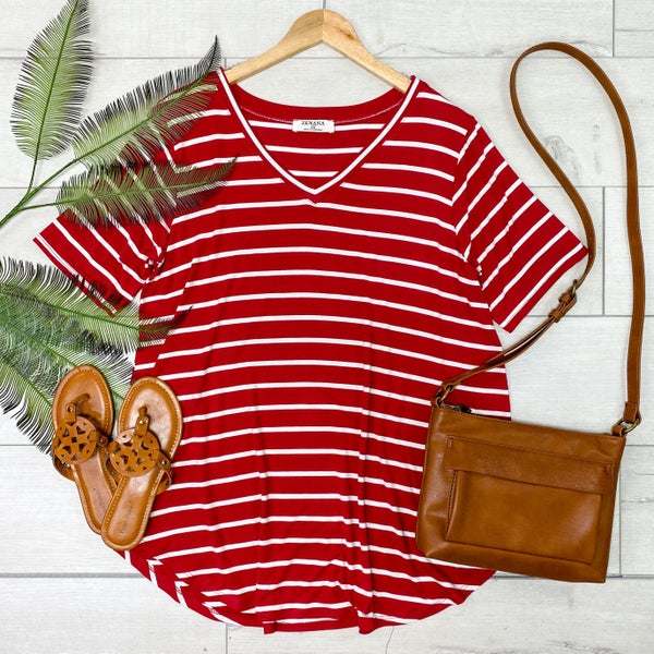 *PLUS* Striped V-Neck Top, Burgundy [[LIVE]]