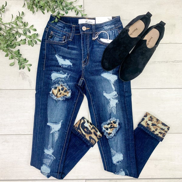 *Kendra's Collection* Mid Rise Distressed Denim w/ Leopard Patches - DARK