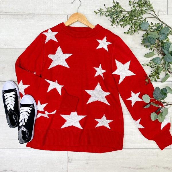 Star Pattern Round Neck Sweater, Dark Red [[$20--LIVE]]