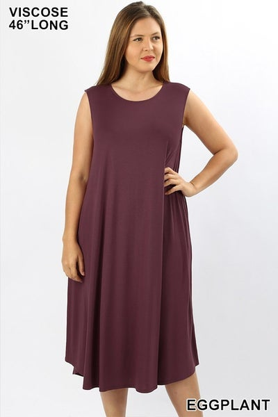 Sleeveless Midi Dress - EGGPLANT