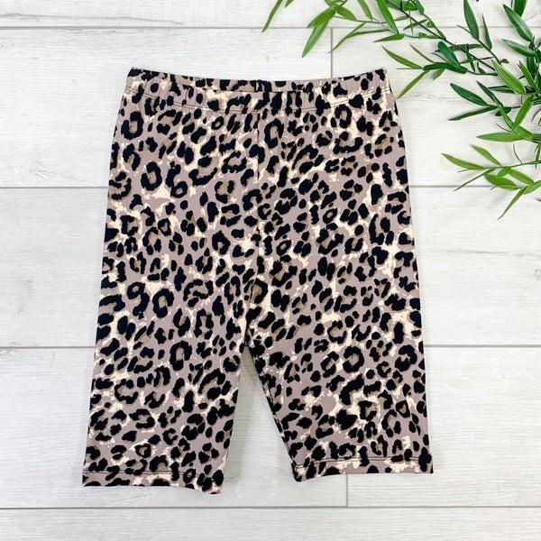 Leopard Print Biker Short, Tan Mocha