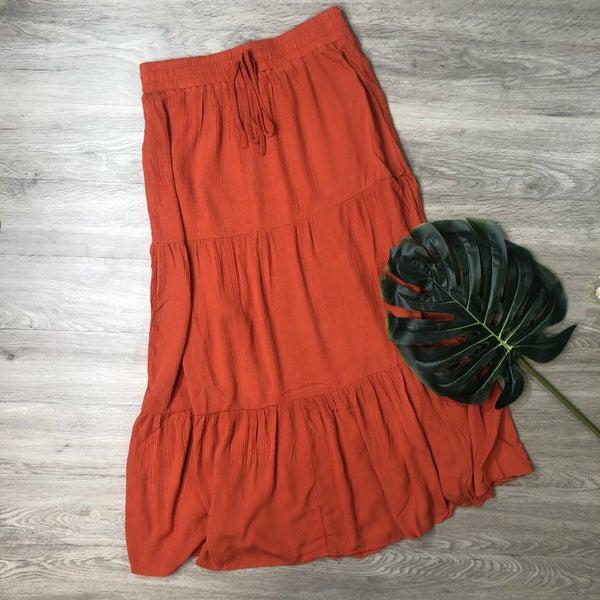 Tiered Midi Skirt- Rust