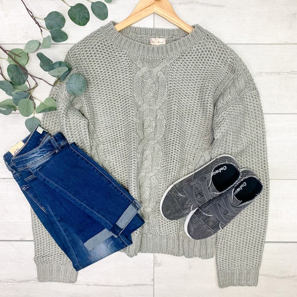 *Kendra's Collection* Cable Knit Round Neck Sweater, Grey