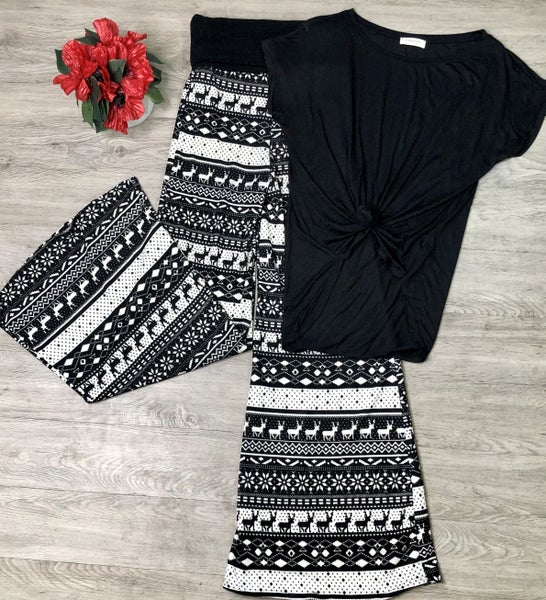 Deer Print Knit Lounge Pants, Black