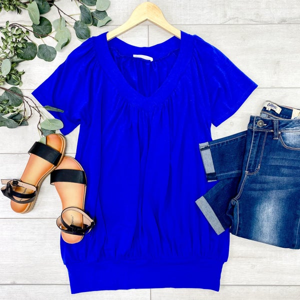 Solid V-Neck Shirring Top, Bright Blue