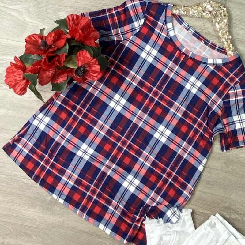 Checkered Plaid Top, Red/Navy *Final Sale*
