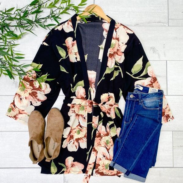 Floral Tie Kimono, Black