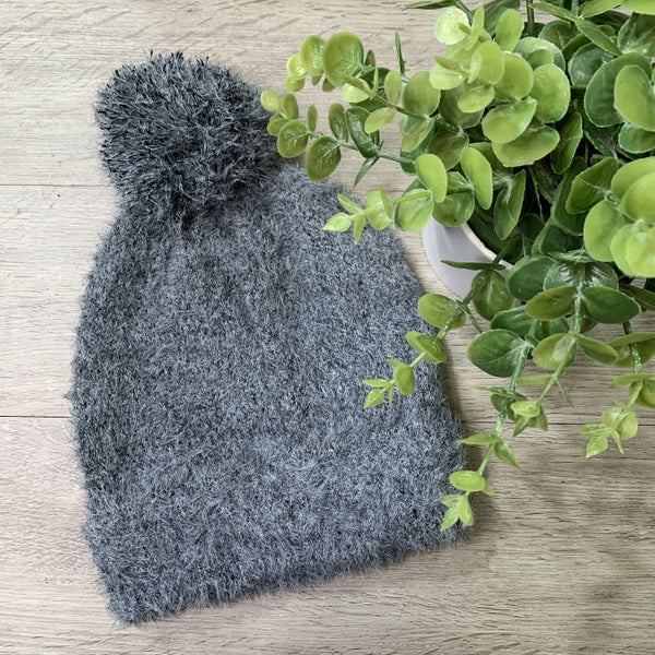 Soft Faux Fur Beanie, Gray *$3* [FINAL SALE]