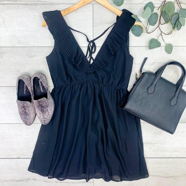 Pleated Ruffle Trim Dress, Black