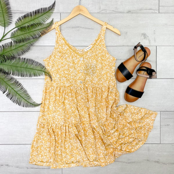 Floral Print Ruffle Tiered Dress, Dusty Apricot