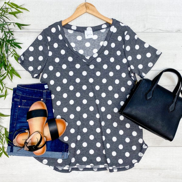 *Kendra's Collection* V-Neck Polka Dot Short Sleeve Top, Charcoal