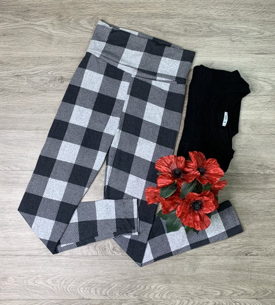 Plaid Knit Leggings, Black