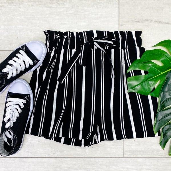 Stripe Paper Bag Shorts, Black