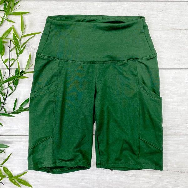 Biker Shorts w/Pockets, Army Green