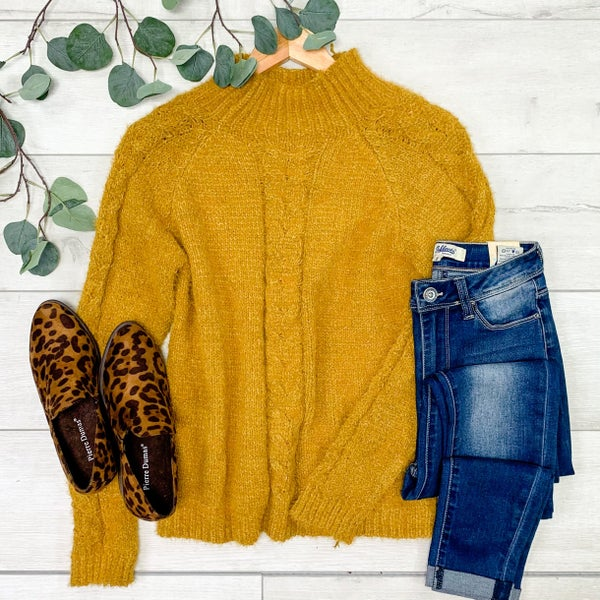 *Kendra's Collection* Fuzzy Mock Neck Sweater, Mustard *Final Sale*