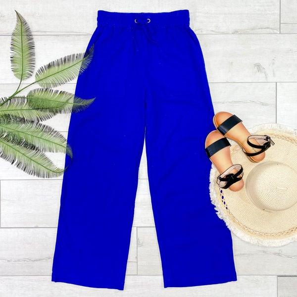 Linen Drawstring Pants, Bright Blue