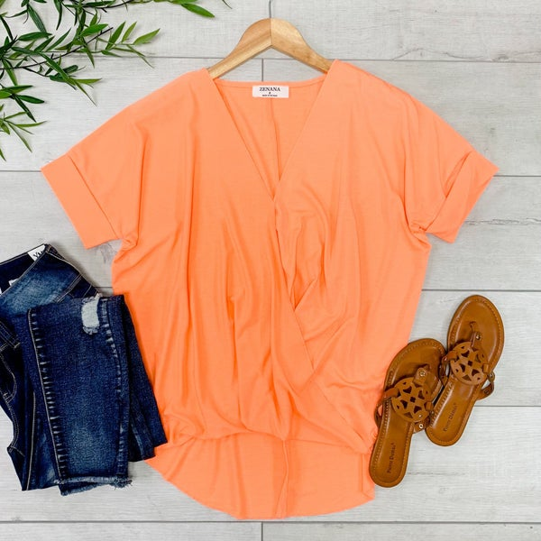 Draped Front Top, Neon Coral