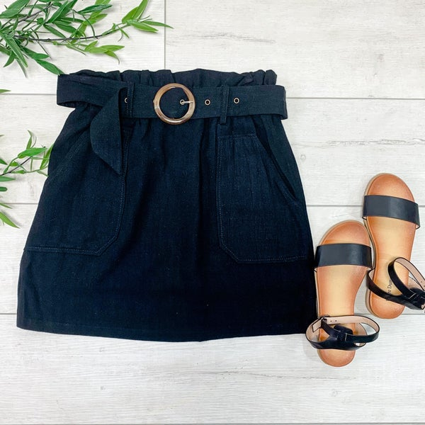 Solid Skirt w/Belt, Black