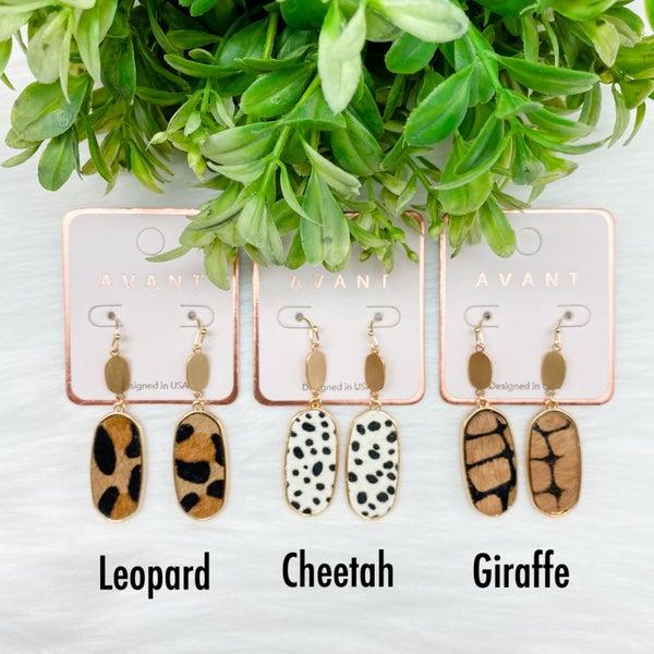 Animal Print Oval Earrings *Final Sale*