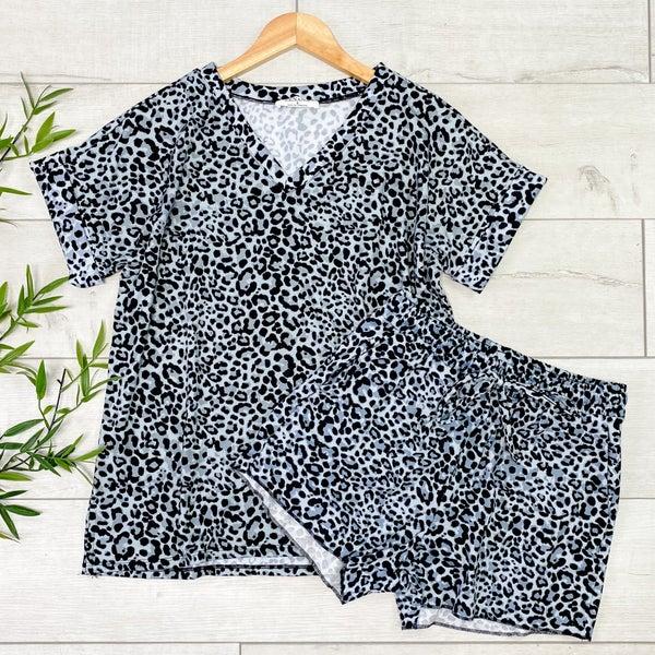 Leopard Print Shorts Set, Gray
