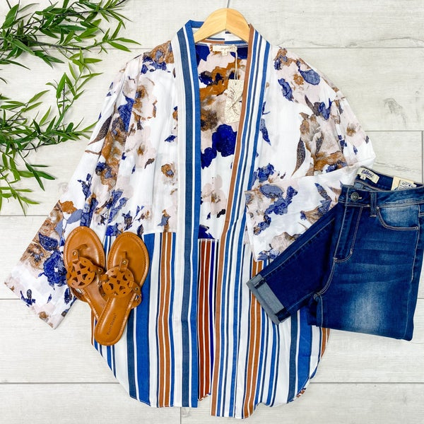 Floral and Striped Cardigan, Blue