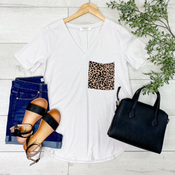 Leopard Print Pocket V-Neck Top, Bone [[LIVE]]